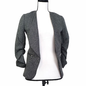 H&M Gray Tweed Open Front Ruched Sleeve Blazer 4